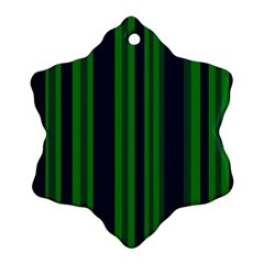 Dark Blue Green Striped Pattern Snowflake Ornament (2-Side) by BrightVibesDesign