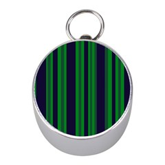 Dark Blue Green Striped Pattern Mini Silver Compasses by BrightVibesDesign