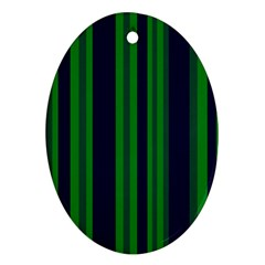 Dark Blue Green Striped Pattern Ornament (oval)  by BrightVibesDesign