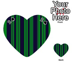 Dark Blue Green Striped Pattern Playing Cards 54 (heart)  by BrightVibesDesign
