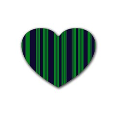 Dark Blue Green Striped Pattern Rubber Coaster (heart)  by BrightVibesDesign