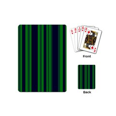 Dark Blue Green Striped Pattern Playing Cards (mini)  by BrightVibesDesign