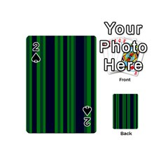 Dark Blue Green Striped Pattern Playing Cards 54 (mini)  by BrightVibesDesign