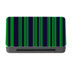 Dark Blue Green Striped Pattern Memory Card Reader with CF by BrightVibesDesign