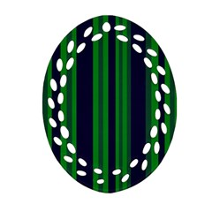 Dark Blue Green Striped Pattern Oval Filigree Ornament (2-Side)  by BrightVibesDesign