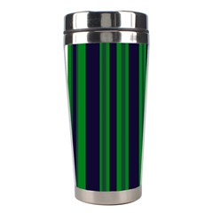 Dark Blue Green Striped Pattern Stainless Steel Travel Tumblers by BrightVibesDesign
