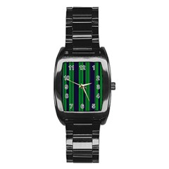 Dark Blue Green Striped Pattern Stainless Steel Barrel Watch by BrightVibesDesign