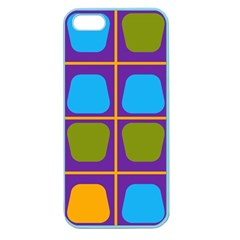 Shapes In Squares Pattern apple Seamless Iphone 5 Case (color) by LalyLauraFLM