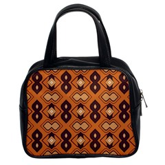 Brown Leaves Pattern Classic Handbag (two Sides) by LalyLauraFLM