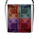 Vintage Flower Squares Flap Messenger Bag (L)
