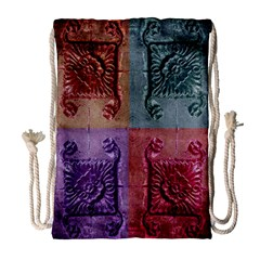 Vintage Flower Squares Drawstring Bag (large) by BrightVibesDesign