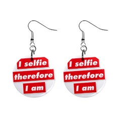 I Selfie Therefore I Am Mini Button Earrings by theimagezone