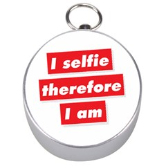 I Selfie Therefore I Am Silver Compasses by theimagezone