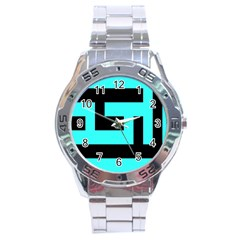 Black And Teal Stainless Steel Analogue Watch by timelessartoncanvas
