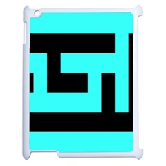 Black And Teal Apple Ipad 2 Case (white) by timelessartoncanvas