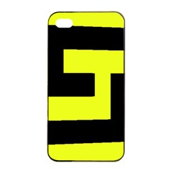 Black And Yellow Apple Iphone 4/4s Seamless Case (black) by timelessartoncanvas