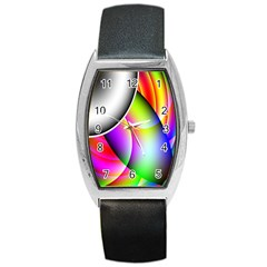 Psychedelic Design Barrel Style Metal Watch by timelessartoncanvas