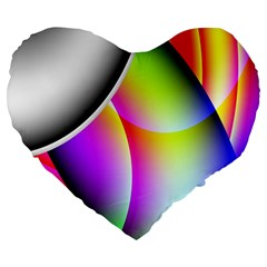 Psychedelic Design Large 19  Premium Flano Heart Shape Cushions by timelessartoncanvas
