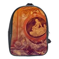 Vintage Ladies Artwork Orange School Bags (xl)  by BrightVibesDesign