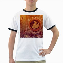Vintage Ladies Artwork Orange Ringer T-Shirts by BrightVibesDesign