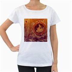 Vintage Ladies Artwork Orange Women s Loose Fit T Shirt (white) by BrightVibesDesign