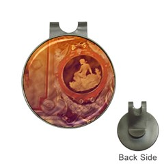 Vintage Ladies Artwork Orange Hat Clips With Golf Markers by BrightVibesDesign
