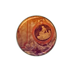 Vintage Ladies Artwork Orange Hat Clip Ball Marker (4 Pack) by BrightVibesDesign