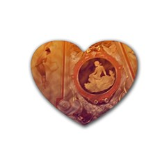 Vintage Ladies Artwork Orange Rubber Coaster (heart)  by BrightVibesDesign