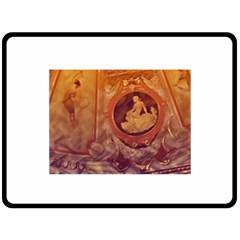 Vintage Ladies Artwork Orange Fleece Blanket (large)  by BrightVibesDesign