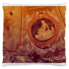 Vintage Ladies Artwork Orange Large Cushion Case (two Sides) by BrightVibesDesign