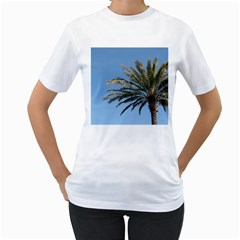 Tropical Palm Tree  Women s T Shirt (white) (two Sided) by BrightVibesDesign