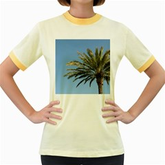 Tropical Palm Tree  Women s Fitted Ringer T Shirts by BrightVibesDesign