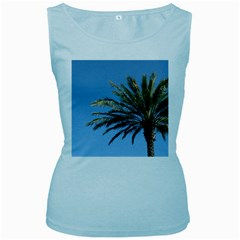 Tropical Palm Tree  Women s Baby Blue Tank Top by BrightVibesDesign
