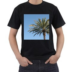 Tropical Palm Tree  Men s T Shirt (black) (two Sided) by BrightVibesDesign