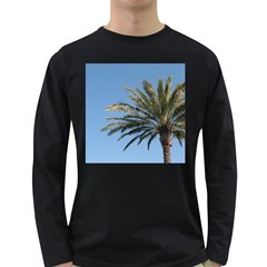 Tropical Palm Tree  Long Sleeve Dark T Shirts by BrightVibesDesign