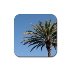 Tropical Palm Tree  Rubber Square Coaster (4 pack)  by BrightVibesDesign