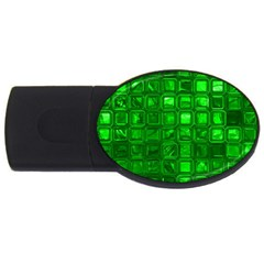 Glossy Tiles,green Usb Flash Drive Oval (2 Gb)  by MoreColorsinLife