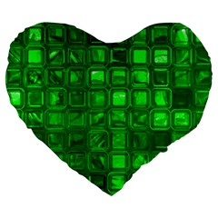 Glossy Tiles,green Large 19  Premium Flano Heart Shape Cushions by MoreColorsinLife