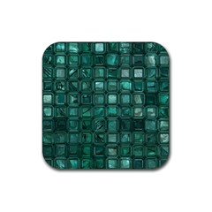 Glossy Tiles,teal Rubber Square Coaster (4 pack)  by MoreColorsinLife