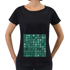 Glossy Tiles,teal Women s Loose-Fit T-Shirt (Black) by MoreColorsinLife