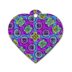 Collage Ornate Geometric Pattern Dog Tag Heart (one Side) by dflcprints