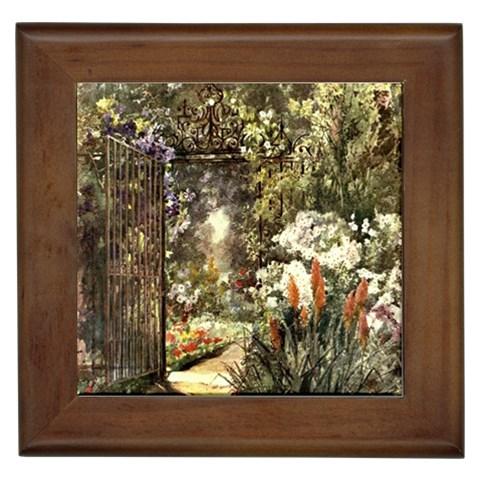 Gated Garden Framed Tile By Michelle Curry   Framed Tile   Ebjjj3485hw4   Www Artscow Com Front