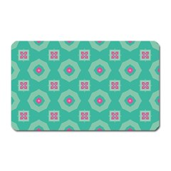 Pink Flowers And Other Shapes Pattern  magnet (rectangular) by LalyLauraFLM
