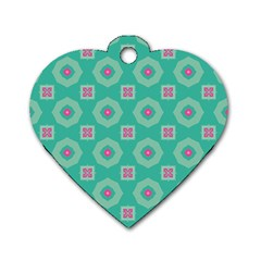 Pink Flowers And Other Shapes Pattern  			dog Tag Heart (one Side) by LalyLauraFLM