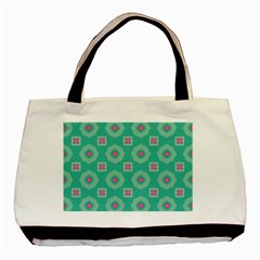 Pink Flowers And Other Shapes Pattern  basic Tote Bag by LalyLauraFLM