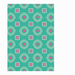 Pink Flowers And Other Shapes Pattern  Small Garden Flag by LalyLauraFLM
