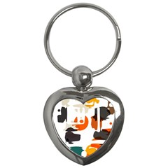 Shapes In Retro Colors On A White Background 			key Chain (heart) by LalyLauraFLM