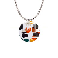 Shapes In Retro Colors On A White Background 			1  Button Necklace by LalyLauraFLM