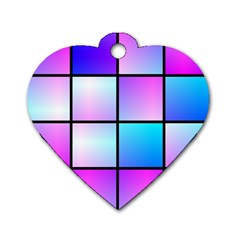 Gradient Squares Pattern  dog Tag Heart (one Side) by LalyLauraFLM