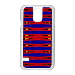 Bright Blue Red Yellow Mod Abstract Samsung Galaxy S5 Case (white) by BrightVibesDesign
